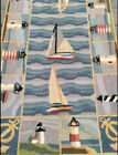 Vintage Hand-Hooked Rug - Lighthouse Sailboat Nautical Ocean Boat Beach Anchor