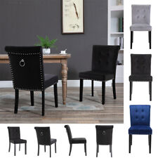 More details for 1/2x velvet dining chairs with knocker/ring back kitchen bistro upholstered seat