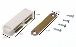 Double Magnetic Catch + Plate And Fixing Screws White 5 KG Pull Pack 200