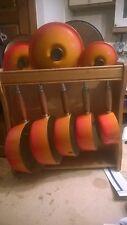 5 Pan Set Cast Iron Saucepans Le Creuset Volcanic Orange? + Wooden Display Rack