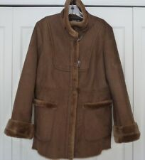 GENTLY WORN L BROWN MID LENGTH FAUX FUR/SUEDE JONES NEW YORK JACKET GREAT COND.