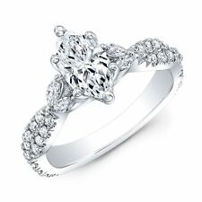 2.00ctw Natural Marquise Cut Side Diamonds Twisted Pave Engagement Ring-GIA