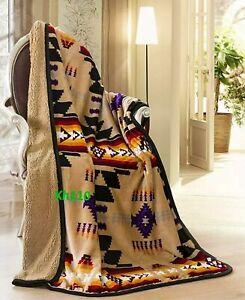 Navajo Print Camel Throw Blanket Sherpa Southwest Native American Indian