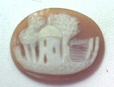 NOS Antique Vintage Hand Carved Oval Shell CAMEO Stone House & Tree Scene #N409