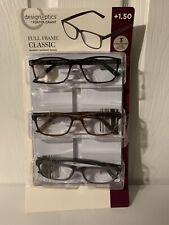 Design Optics by Foster Grant 3-Pack Reading Glasses Full Frame Classic +1.50 OB