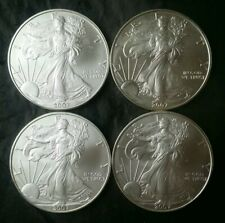 Lot of Four 2007 $1 American Silver Eagle Dollars