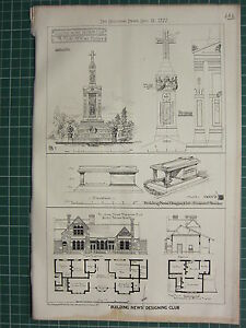 1877 DATED ARCHITECTURAL PRINT ~  MARBLE MONUMENT RAILWAY STATION FLOOR PLAN