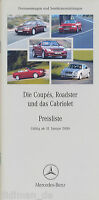 1301MB Mercedes Preisliste 2000 31.1.00 Coupes Roadster Cabriolet CL SL CLK SLK