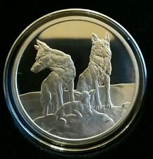 Aware and Prepared Proof 1 oz .999 Silver Shield sheep dog protecting from wolf