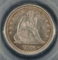 1876 Seated Liberty Quarter 25c - PCGS AU58 - Light Toning