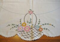 Antique VTG Basket flowers Ivory LINEN Hand Embroidered Tablecloth 50x49