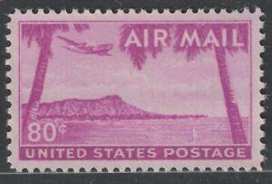 Scott C46 80¢ Diamond Head Honolulu Hawaii Air Mail Mint Single Hinged