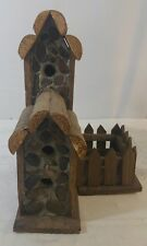 "Decorative Bird House Stone & Wood 2 Story 15"" Tall B3"