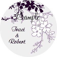 120 Personalized Purple Floral Wedding Round Stickers Envelope Seals