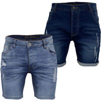 Mens Ripped Denim Shorts Brave Soul Blue Wash TAYLOR Faded Jeans Pants LINCOLN