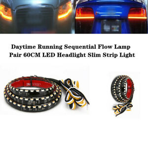 2X 60CM LED Headlight Slim Strip Light Daytime Turn Signal Sequential Flow Lamp