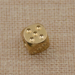 1pc  Gold Dice Brass Polished Alloy for Table Games Funny KTV Bar Accessories