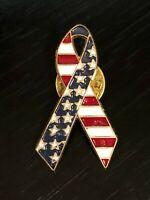 Vintage Collectible Stars & Stripes Metal Colorful Pinback Lapel Pin Hat Pin