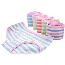 Women Girl Striped Underwear Breathable Panties Cotton Blend Briefs Random