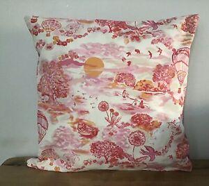 """Handmade Cushion Cover Cath Kidston Hot Air Balloons Zip Closure 16"""" Quality"""