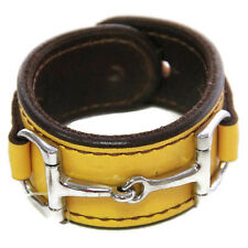 Equestrian Horse Bit Leather Wide Cuff Bracelet Silver Hardware, YELLOW