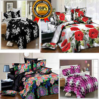 4Pcs Printed Complete Bed Set 3D Duvet Quilted cover Bedding Set Fitted Sheet UK
