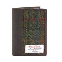 Harris Tweed Leather Passport Holder Green Check