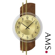 AMS 9413 cuarzo de Reloj pared, cuero sintético diseño en Parte Posterior Madera