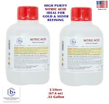 Bausch Nitric 70% Acid HNO3 2 Liters 68oz Highest Purity Gold & Silver Refining