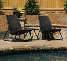 3 Piece Keter Table Chairs Rattan Furniture Lounge Balcony Backyard Patio Set