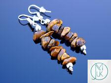 Tiger Eye Natural Chip Gemstone Earrings Drop Quartz Crystal Chakra Healing