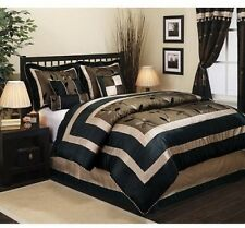 King Size Comforter 7 Piece Set Brown Black Leafs Duvet Bedroom Bedding