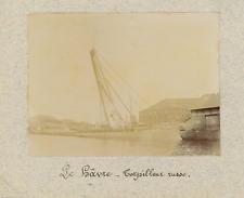 France, Le Havre, Torpilleur Russe  Vintage print.  Tirage albuminé  6x8