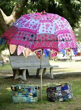 """Indian Garden Parasol Floral Embroidered Pink Patio Decor Sun Shade Umbrella 84"""""""