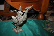 Antique Hinduism Buddhist Bronze Religious Statue-God Riding Bird-Spiritual-Larg