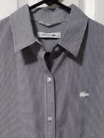 LACOSTE Women's long Sleeve button Gray White Stripes shirt, size 36, or XS EUC