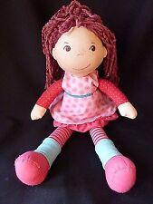 """HABA soft plush german doll 13"""" tall pink dress stripes leg warmers"""