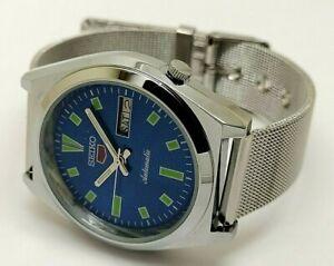 genuine seiko 5 automatic men steel day date blue dial vintage watch run order