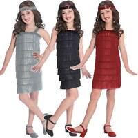 Childs Flapper Fancy Dress Costume 20s 30s Charleston Great Gatsby Jazz Girls