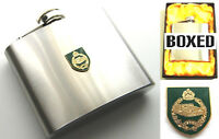 THE ROYAL TANK REGIMENT BADGE ARMY MILITARY STAINLESS STEEL 5OZ METAL HIP FLASK