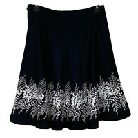 Ann Taylor Chambray White Floral Embroidered A Line Navy Blue Skirt Sz 10