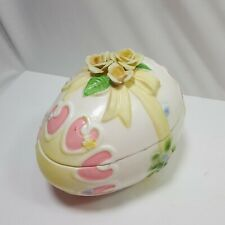 Lefton Egg Figurine White Colorful Lidded Trinket Collectible Easter Retro 5in