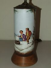 Antique Beautiful Hand Painted Porcelain Table Lamp - Children w/ Sled in Winter