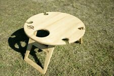 Portable Wine Picnic Table Natural Round Foldable Outdoor Dining Camping Boating