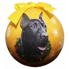 Great Dane Black Shatterproof Ball Dog Christmas Ornament
