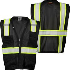 ML KISHIGO B100 Safety Vest, Black with lime yellow and silver reflective 2X-3X