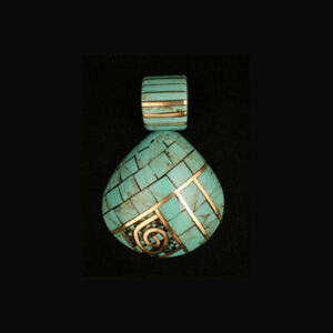 Kewa Indian Shell and turquoise overlay pendant by Kenneth Aquilar