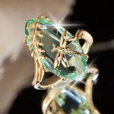 Fashion Women Emerald 18K Yellow Gold Filled Wedding Engagement Ring Size 6-10