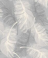 Dappled Grey Feather Wallpaper White and Silver Glitter by Coloroll (M0923)