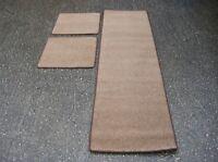 Caravan/Motorhome Interior Floor Carpet Mats - Light Brown (3 Piece)
